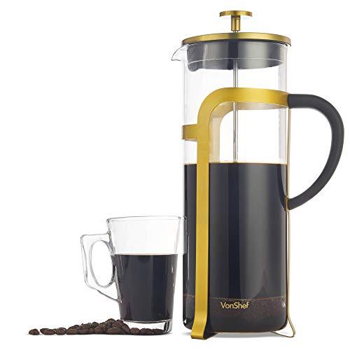 VonShef 1,5L Kaffeebereiter Cafetiere French Press aus Glas für 12 Tassen – Geschenkidee für Einzüge, Weihnachten oder Hochzeiten