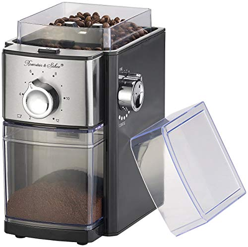 Rosenstein & Söhne Espresso-Mühle: Elektrische Kaffeemühle, Scheibenmahlwerk, für 250 g Bohnen, 150 Watt Espressomühle elektrisch