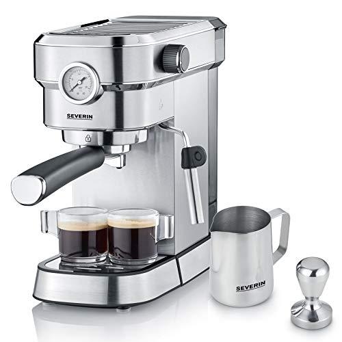 SEVERIN Espresa Plus KA 5995 Espressomaschine ca. 1350 W, massiver und professioneller Siebträger inkl. ideale Starterset und Manometer, einstellbare Temperatur und speicherbare Tassenfüllmenge