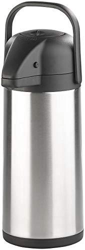 Rosenstein & Söhne Pump-Isolierkanne: Doppelwandige Vakuum-Isolierkanne mit Pumpsystem, Edelstahl, 3 Liter Edelstahl-Pump-Vakuum-Isolierkanne