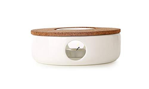 TEASOUL Sehr eleganter Teekannenwärmer in Porzellan mit Korkständer. Die perfekte Unterstützung, um Deine Teekanne Immer warm zu halten, weiß, 15 cm