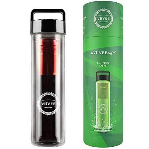 Viivee Life ® Teeflasche mit Sieb To Go 500ml Thermoflasche für heiße & kalte Getränke Glas Trinkflasche 100% BPA Free Teekanne Doppelwandig für Tee | Detox | Smoothie | Infused Fruit Water