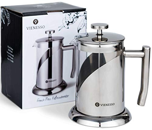 Kaffeebereiter für zu Hause, Kanne + Barista E-Book – VIENESSO French-Press aus Glas und Edelstahl im edlen Design 0,8 Liter | 4 Tassen | Kaffee-Presse inkl. 2 Ersatzfilter