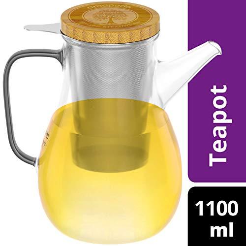 amapodo Teekanne aus Glas mit Siebeinsatz Edelstahl 1100ml Tee Glaskanne mit Sieb und Deckel