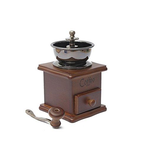 OULII Manuelle Kaffeebohne Hand Mühle Gewürz Kräuter Vintage-Stil aus Holz Retro-Burr Mühle Kaffeebohnen Schleifen Maschine Getreidemühle – Geschenk für Liebhaber