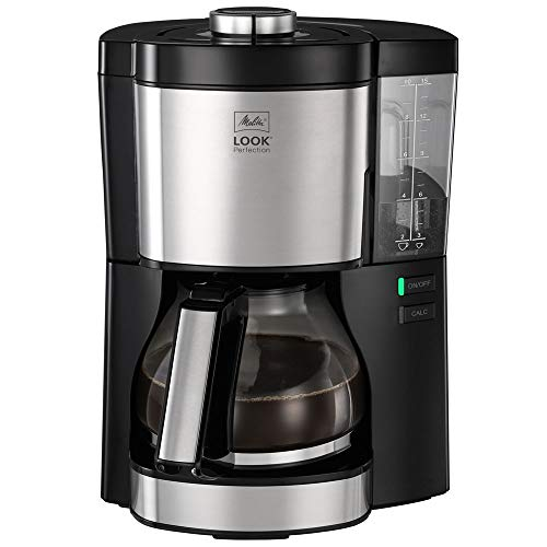 Melitta Look V Perfection 1025-06 Filterkaffeemaschine mit Glaskanne, abnehmbaren Wassertank und Entkalkungsprogramm schwarz, Kunststoff, 1.25 liters